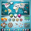 Vector summer travel infographic set with world map and vacation elements. EPS 10 illustration. — Stock Vector #26979625