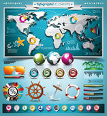 Vector summer travel infographic set with world map and vacation elements. EPS 10 illustration. — Stockvektor