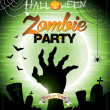 Vector illustration on a Halloween Zombie Party themeon green background. — Vektorgrafik