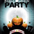 Vector illustration on a Halloween Party theme With pumkins. — Vector de stock