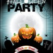 Vector illustration on a Halloween Party theme With pumkins. — Stock Vector