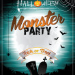 Vector Halloween illustration on a Monster Party theme with moon and bats. — Stock Vector
