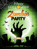 Vector illustration on a Halloween Zombie Party themeon green background. — Stock Vector