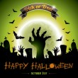 Vector illustration on a Halloween Zombie Party theme on green background. — Stock Vector