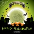 Vector illustration on a Happy Halloween theme with pumkins. — Stock Vector