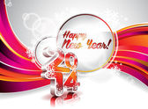 Vector Happy New Year 2014 colorful celebration background. — Vecteur