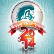 VectorVector Happy New Year 2014 design with horse and ribbon on typographic background. — Stock Vector