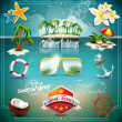 Vector Summer Holiday Icon set on blue sea background. — Stock Vector
