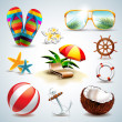 Vector Summer Holiday Icon set on clear background. — Stock Vector #41684245