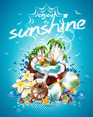 Vector Summer Holiday Flyer Design with coconut and Paradise Island on blue background. — Stockvektor