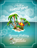 Vector illustration on a summer holiday theme with paradise island on sea background. — Stock Vector