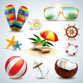 Vector Summer Holiday Icon set on clear background.  — Vector de stock