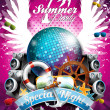 Vector Summer Beach Party Flyer Design with disco ball and shipping elements on tropical background. — Stock Vector