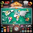 Vector Casino infographic set with world map and gambling elements. — Stock Vector