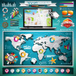 Vector summer travel infographic set with world map and vacation elements. EPS 10 illustration.und. — Stock Vector