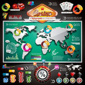 Vector Casino infographic set with world map and gambling elements. — Stockvektor