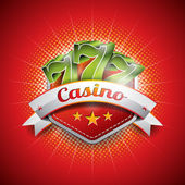 Vector illustration on a casino theme with seven symbols and ribbon on red background. — Vettoriale Stock