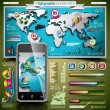 Vector design set of infographic elements. World map and information graphics. — Stock Vector