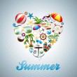 Vector Love Heart Summer Holiday design set on wave background. — Stock Vector