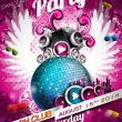 Vector Disco Party Flyer Design with disco ball — Stock Vector #46407343
