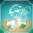 Vector illustration on a summer holiday theme with sunglasses. — Stock Vector