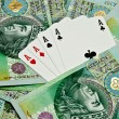 Stock Photo: Poker cards and money