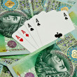 Poker cards and money — Stock Photo