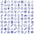 Stock Vector: One hundred food icons