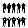 Police line up silhouettes — Stock Vector #34496853