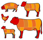 Cutting meat — Vector de stock