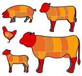 Sezionamento delle carni — Vettoriale Stock