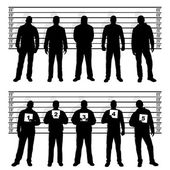 Police line up silhouettes — Stock Vector
