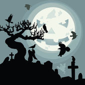 A Halloween Night in the Cemetery — Stock Vector