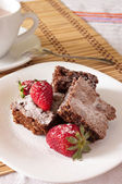 Delicious Chocolate Brownie and Strawberry with cocoa milk — Stock Photo
