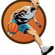 Stock Vector: Professional Basketball Player dribbling in jump with ball