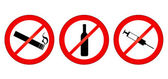 No smoking, no alcohol, no drugs — Stock Vector