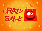 Crazy sale design template, with fun red bag — Stock Vector