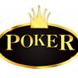 Poker icon with crown — Stock Vector