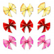 Big set of colour gift bows with ribbons — Vector de stock #17889421