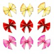 Big set of colour gift bows with ribbons — ストックベクタ