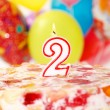 Cake with number 1 candle - Foto Stock