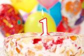 Tårta med nummer 1 ljus — Stockfoto