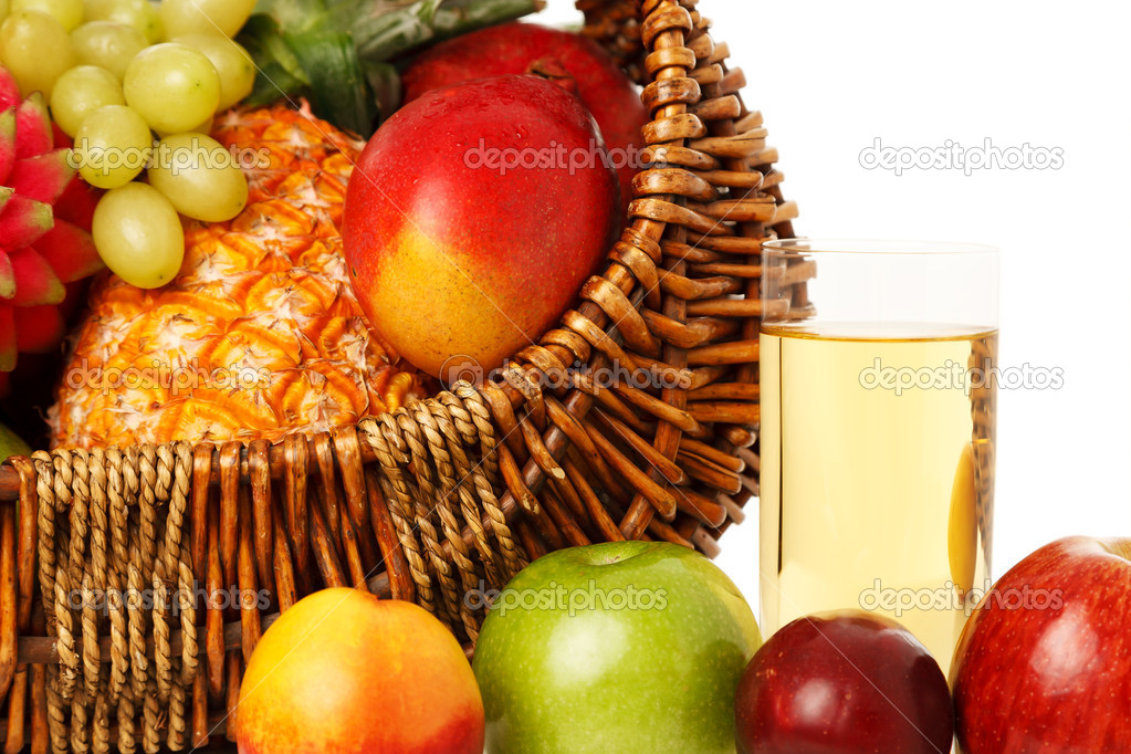 Set of different fresh fruits in basket and juice isolated on white.See my other pictures from this series in my lightbox.  — Stock Photo #16265897