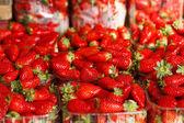 Mise au point strawberries.selective de parfait mûres fraîches — Photo