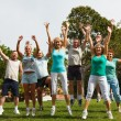 Big group of jumping people. — Stock Photo