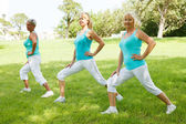 Mature womens doing flexibility exercises — Stock Photo