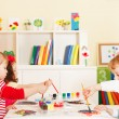 Stock Photo: Preschoolers in classroom