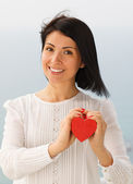 Young woman with Valentine's Heart — Stock Photo