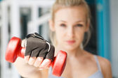 At the fitness club.Focus on dumbbells — Stock Photo