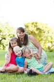 Happy women with her children — Stock Photo